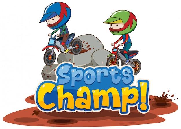 Ontwerpsjabloon lettertype voor woord sport champ met extreme sport