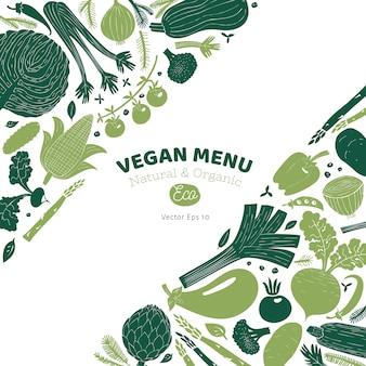 Ontwerpsjabloon leuke hand getrokken groenten. monochrome afbeelding. groenten achtergrond. illustratie