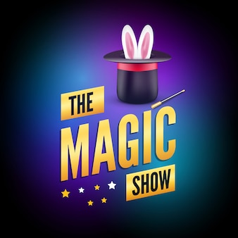 Ontwerpsjabloon magische poster. goochelaar logo concept met hoed, konijn en toverstaf