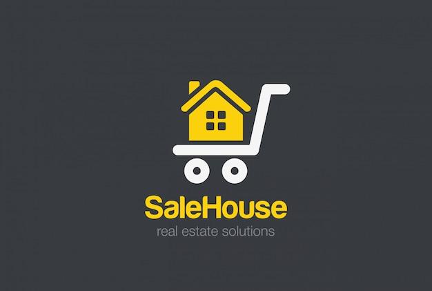 Ontwerpsjabloon onroerend goed logo. verkoop winkelwagen huis silhouet logo concept
