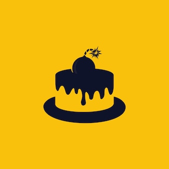 Ontwerpsjabloon taart met bom logo