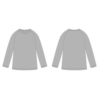 Ontwerpsjabloon trui. technische schets van grijs raglan sweatshirt. kinderkleding.