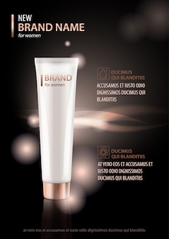 Ontwerpsjabloon van cosmetische pakketreclame voor hand- of gezichtscrème, lotion.