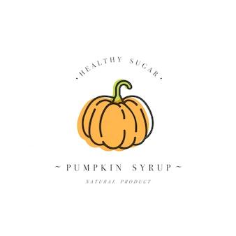 Ontwerpsjabloon verpakking logo en embleem - siroop en topping - oranje pompoen. logo in trendy lineaire stijl.