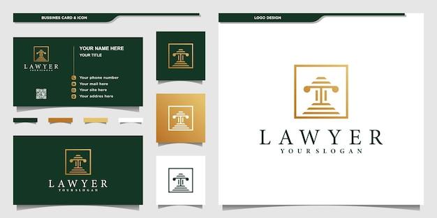 Ontwerpsjabloon voor advocaat-logo met creatieve doosstijl premium vector