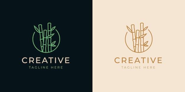 Ontwerpsjabloon voor bamboe bomen lijn logo