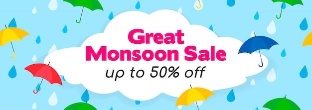 Ontwerpsjabloon voor bannerontwerp van de grote moesson verkoop
