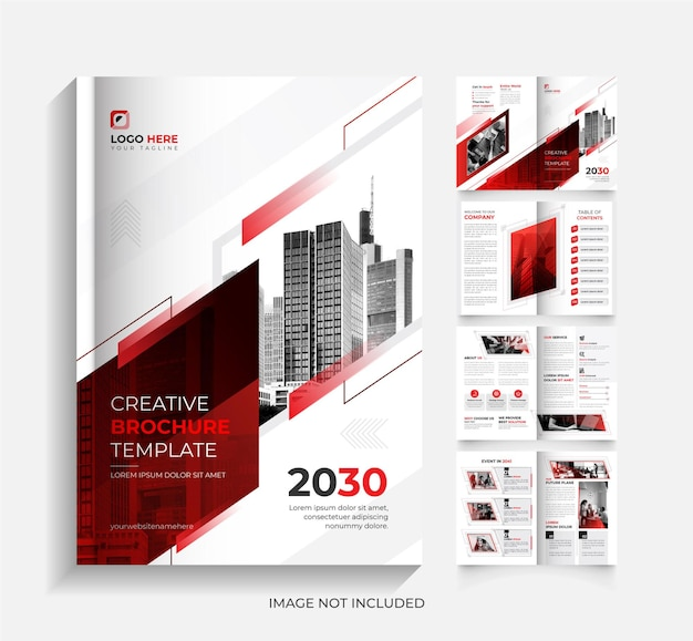 Ontwerpsjabloon voor bedrijfsbrochure met 8 pagina's