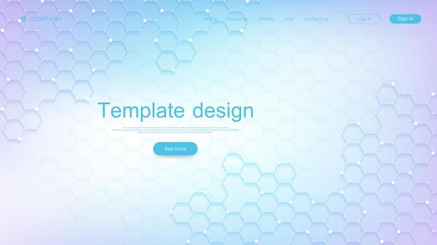 Ontwerpsjabloon voor bestemmingspagina's voor wetenschap, geneeskunde, technologieën, zaken, onderwijs met zeshoeken en kleurrijke dynamische golven. modern bestemmingspagina-ontwerp voor websites of app-vector.