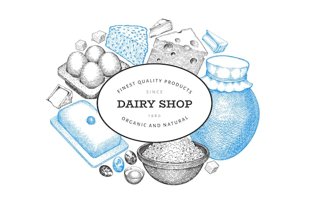 Ontwerpsjabloon voor boerderijvoedsel. hand getekende zuivel illustratie. verschillende melkproducten en eieren in gegraveerde stijl