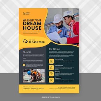 Ontwerpsjabloon voor bouw en renovatie flyer Premium Vector