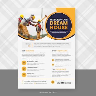 Ontwerpsjabloon voor bouw en renovatie flyer