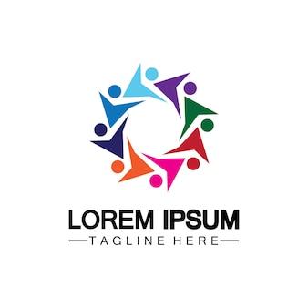 Ontwerpsjabloon voor community-, netwerk- en sociaal pictogramlogo