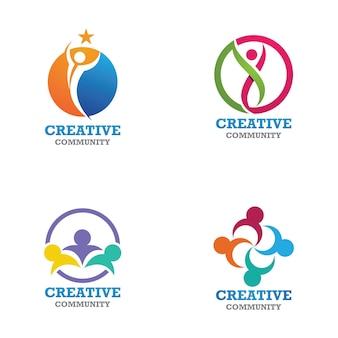 Ontwerpsjabloon voor community-, netwerk- en sociale pictogrammen Premium Vector