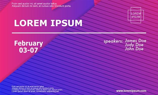 Ontwerpsjabloon voor conferentie-uitnodiging, lay-out van de flyer. geometrische achtergrond. minimaal abstract omslagontwerp. creatief kleurrijk behang. trendy gradiëntposter. vector illustratie.