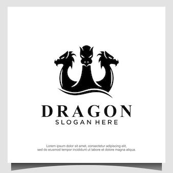 Ontwerpsjabloon voor drakenkop 3 logo