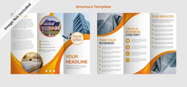 Ontwerpsjabloon voor driebladige brochure voor onroerend goed