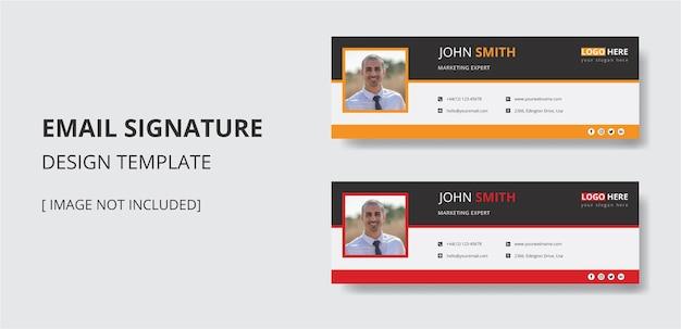 Ontwerpsjabloon voor e-mailhandtekening of e-mailkoptekst voor persoonlijke en sociale media-omslagvector