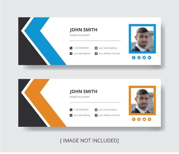Ontwerpsjabloon voor e-mailhandtekening of voettekst voor e-mailkoptekst voor persoonlijke en sociale media-omslag