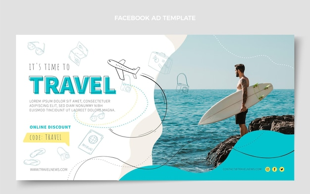 Ontwerpsjabloon voor facebook-advertenties voor reizen