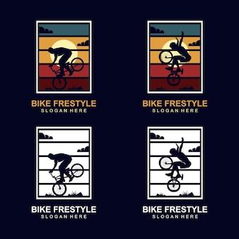 Ontwerpsjabloon voor fiets freestyle-logo Premium Vector