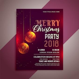 Ontwerpsjabloon voor flyer van de viering van de kerst feest