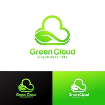 Ontwerpsjabloon voor groene wolk-logo