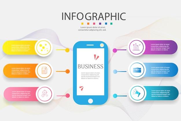 Ontwerpsjabloon voor het bedrijfsleven 6 opties infographic grafiekelement.