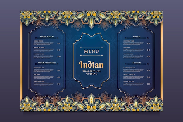 Ontwerpsjabloon voor indiase menu's met kleurovergang