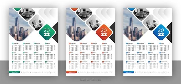 Ontwerpsjabloon voor kleurrijke zakelijke wandkalender