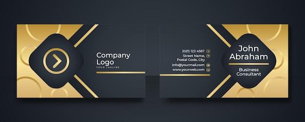 Ontwerpsjabloon voor luxe koninklijke zwarte en gouden visitekaartjes. moderne visitekaartje ontwerpsjabloon met gouden art deco geometrische lijnen