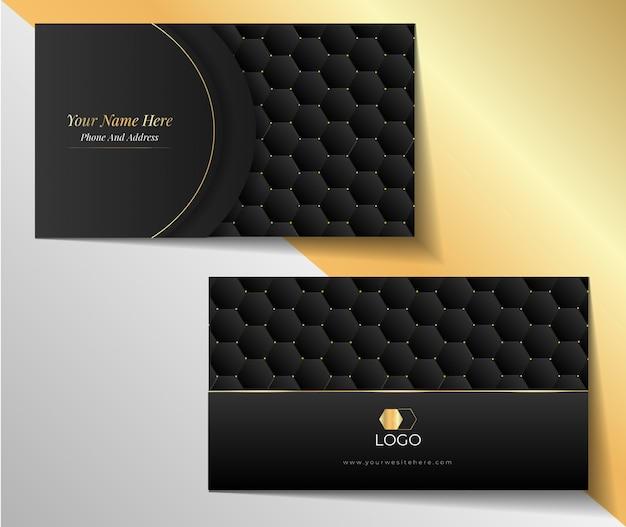 Ontwerpsjabloon voor luxe zwarte en gouden zeshoekige visitekaartjes