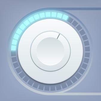 Ontwerpsjabloon voor media-interface met ronde volumeregeling en geluidsschaal