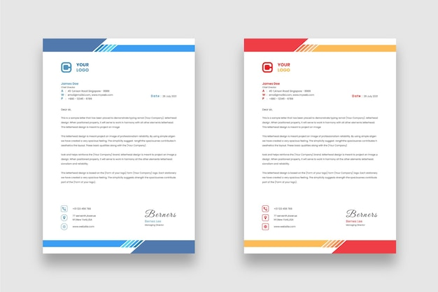 Ontwerpsjabloon voor modern minimaal zakelijk briefhoofd met twee verschillende kleurenthema's