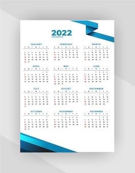 Ontwerpsjabloon voor moderne kalender voor 2022