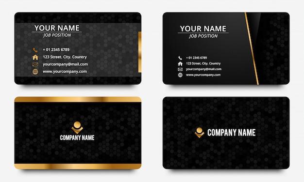 Ontwerpsjabloon voor moderne visitekaartjes. zwarte en gouden kleur