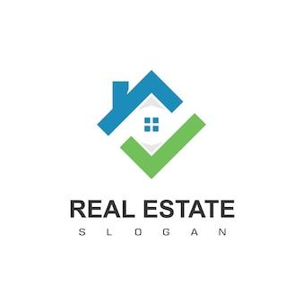 Ontwerpsjabloon voor onroerend goed logo goed huis logo met vinkje