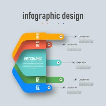 Ontwerpsjabloon voor professionele stappen tijdlijn infographics