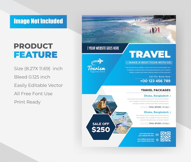 Ontwerpsjabloon voor reisbureau flyer