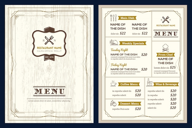 Ontwerpsjabloon voor restaurant of café menu