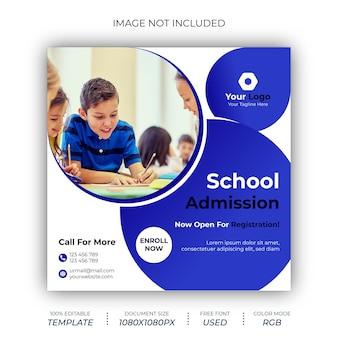 Ontwerpsjabloon voor schooltoelating social media post