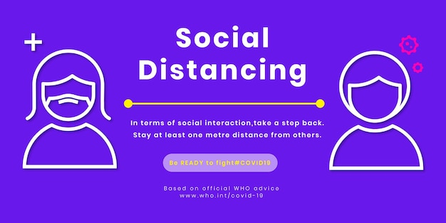 Ontwerpsjabloon voor sociale afstand aankondigen