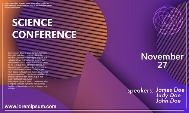 Ontwerpsjabloon voor uitnodiging voor wetenschapsconferentie, lay-out van de flyer. geometrische achtergrond. minimaal abstract omslagontwerp. creatief kleurrijk behang. trendy gradiëntposter. vector illustratie.