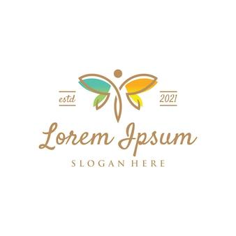 Ontwerpsjabloon voor vlinder engel vrouwelijk logo