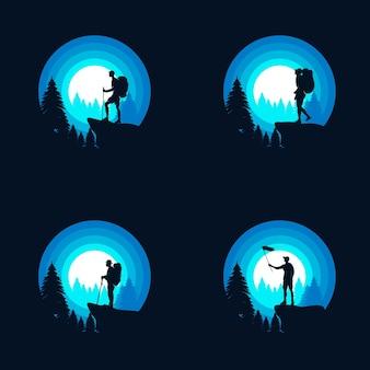 Ontwerpsjabloon voor wandelen avontuur logo