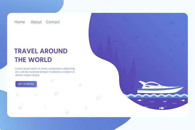 Ontwerpsjabloon voor webpagina met zee-, oceaan- en nautische voertuigen: zeilboot, schip, vaartuig. creatieve flyer voor strand zomervakantie reizen. vector illustratie.