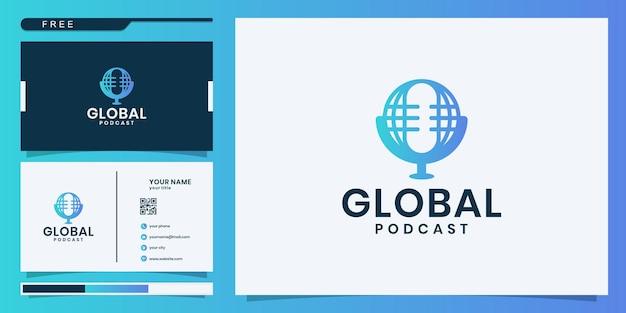 Ontwerpsjabloon voor wereldwijde podcast-logo. logo ontwerp en visitekaartje