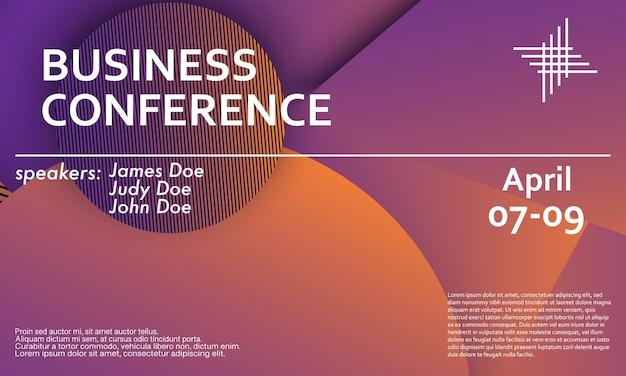 Ontwerpsjabloon voor zakelijke conferentie uitnodiging, lay-out van de flyer. geometrische achtergrond. minimaal abstract omslagontwerp. creatief kleurrijk behang. trendy gradiëntposter. vector illustratie.