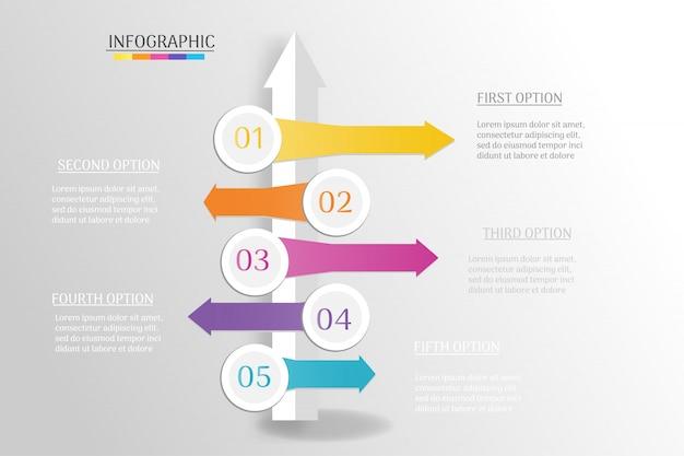 Ontwerpsjabloon voor zakelijke infographic grafiek grafiek.