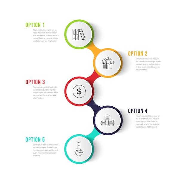 Ontwerpsjabloon voor zakelijke infographics met pictogrammen en 5 stappen